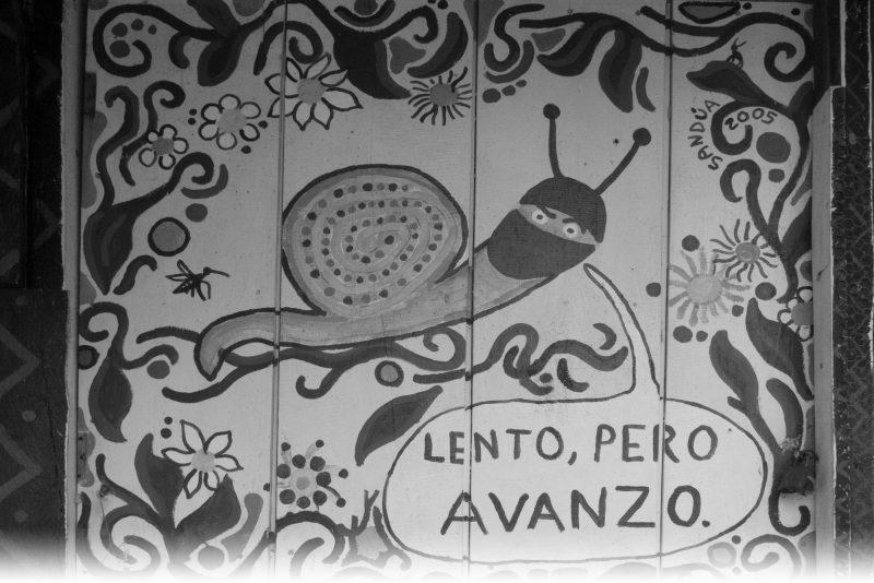 """""""Lento, pero avanzo"""" Zapatista mural. Oventic, Chiapas, Mexico. Photo: Lorie Novak, 2013."""