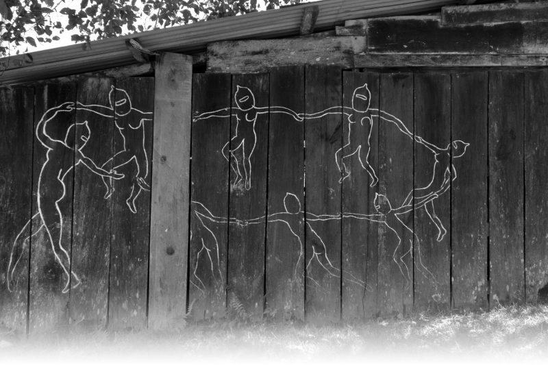Mural: Zapatistas dancing Photo: Lorie Novak